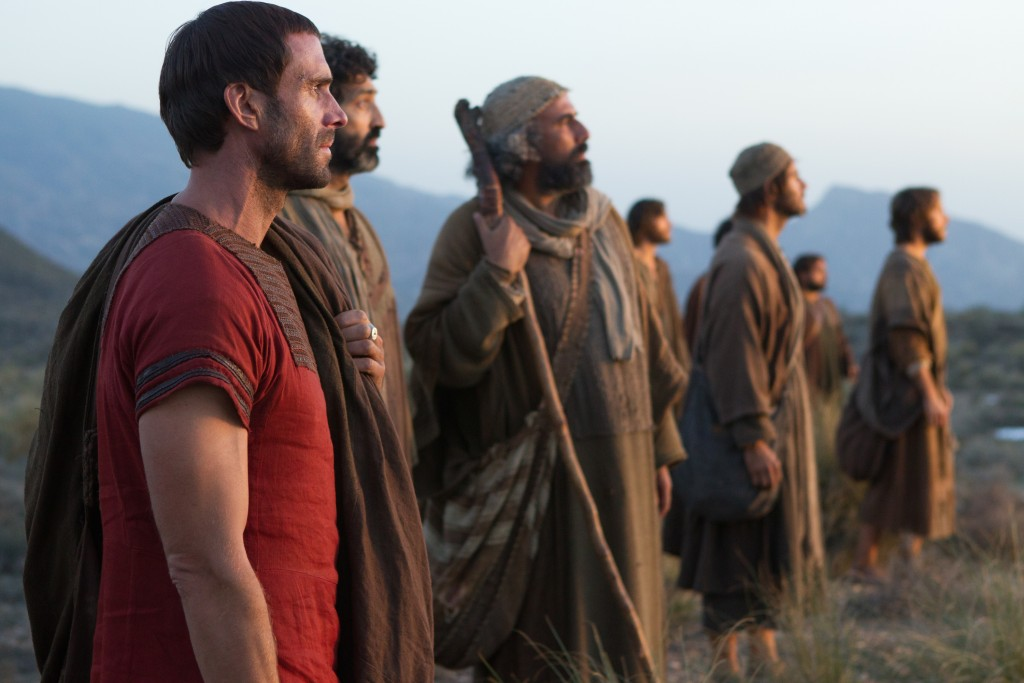 Clavius (Joseph Fiennes) and the apostles watch in awe as Yeshua leaves them. Photo: Columbia Pictures